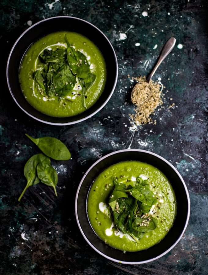 Hrášková polévka se špenátem